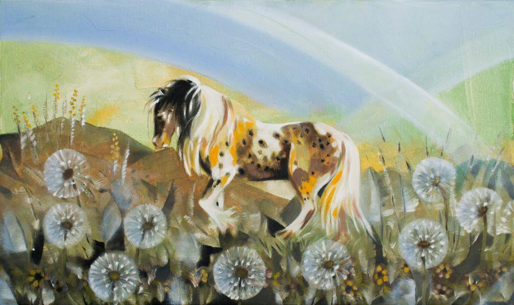 Koń wśród dmuchawców