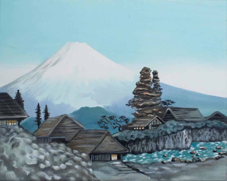 Wioska na tle góry Fudżi